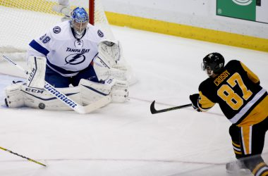 Andrei Vasilveskiy stopping Sidney Crosby